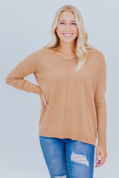 Lovely Haven V-Neck Sweater in Deep Camel - Filly Flair