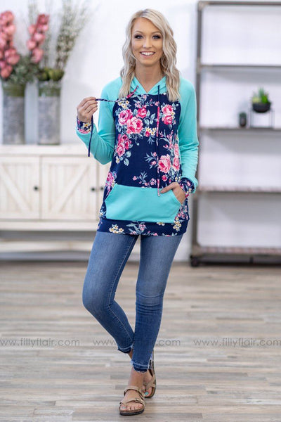 Forever Fine in Floral Long Sleeve Hoodie in Navy Turquoise - Filly Flair