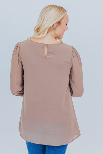 We've Come So Far Long Sleeve Blouse in Mocha - Filly Flair