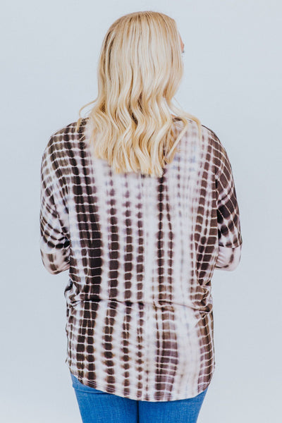 Make You Wanna Stay Tie Dye Dolman Long Sleeve Top in Brown - Filly Flair