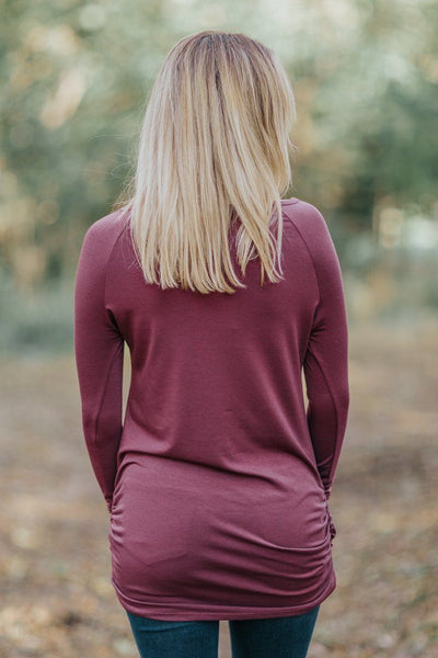Solid But Classy Long Sleeve Side Ruching Top in Dark Marsala - Filly Flair