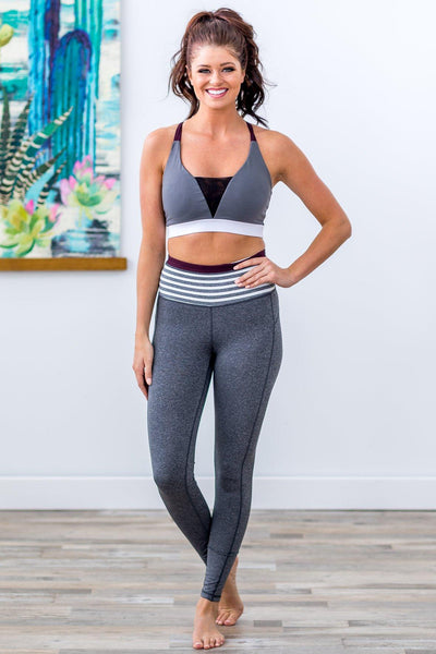 Do The Work Striped Color Block Leggings in White Grey Burgundy - Filly Flair