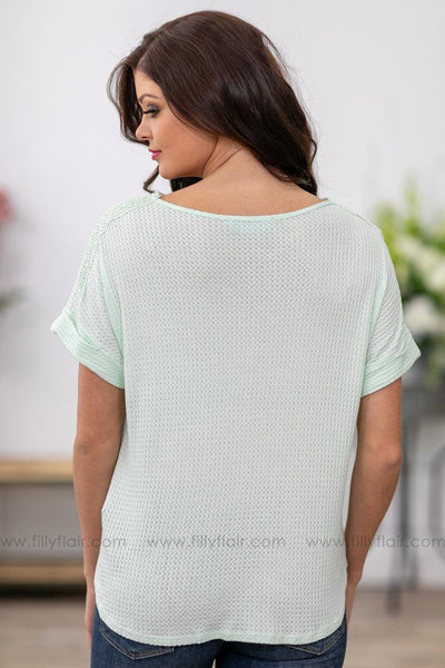 Filly Flair: Sweet Dreams Crochet Lace Waffle Tie Top in Mint Green - Filly Flair