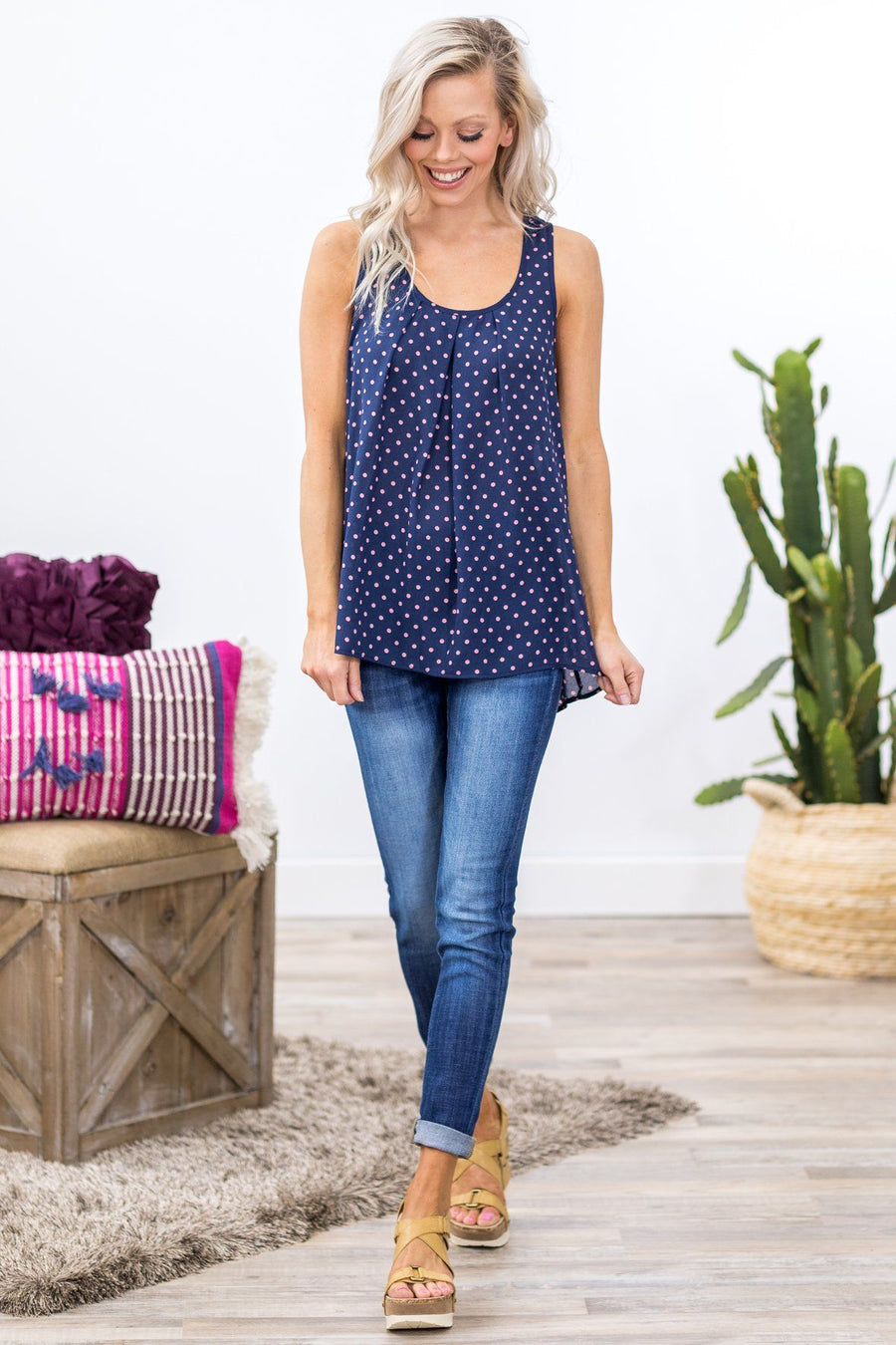 dab151865a7a15 Sixteen Candles Pink Polka Dot Pleated Neckline Tank Top in Navy