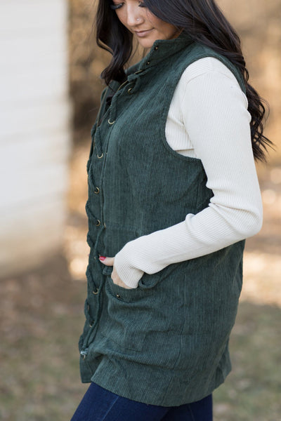 Sweet Moon Beams Corduroy Vest In Forest Green - Filly Flair