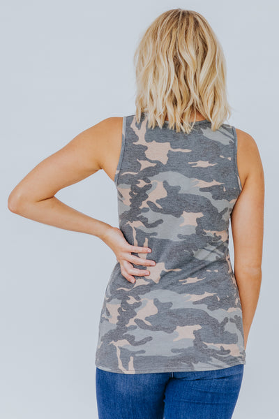 Quit Loving You Criss Cross V-Neck Tank Top in Camo - Filly Flair