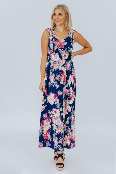 Never Get Over You Floral Print Ruffle Top Maxi Dress in Navy - Filly Flair