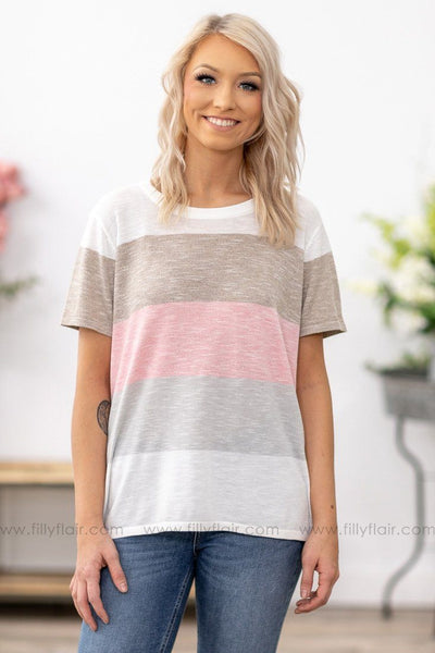 Kinda Like You Short Sleeve Color Block Top in Mocha Grey Pink - Filly Flair