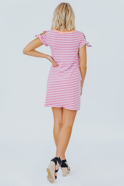 Be My Valentine Pink And White Striped Baby Doll Dress - Filly Flair