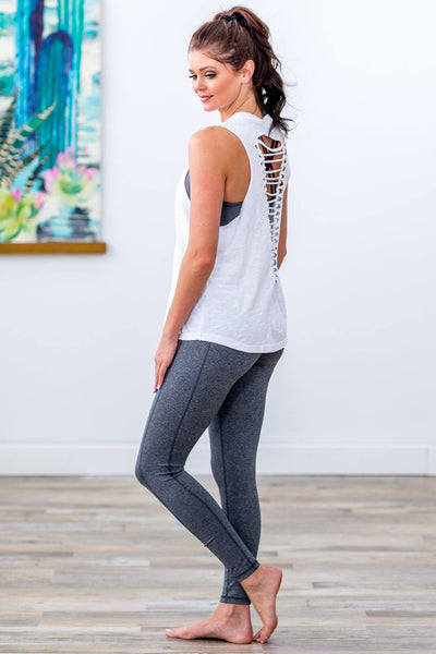 Get To It Ladder Cutout Back Tank Top in White - Filly Flair