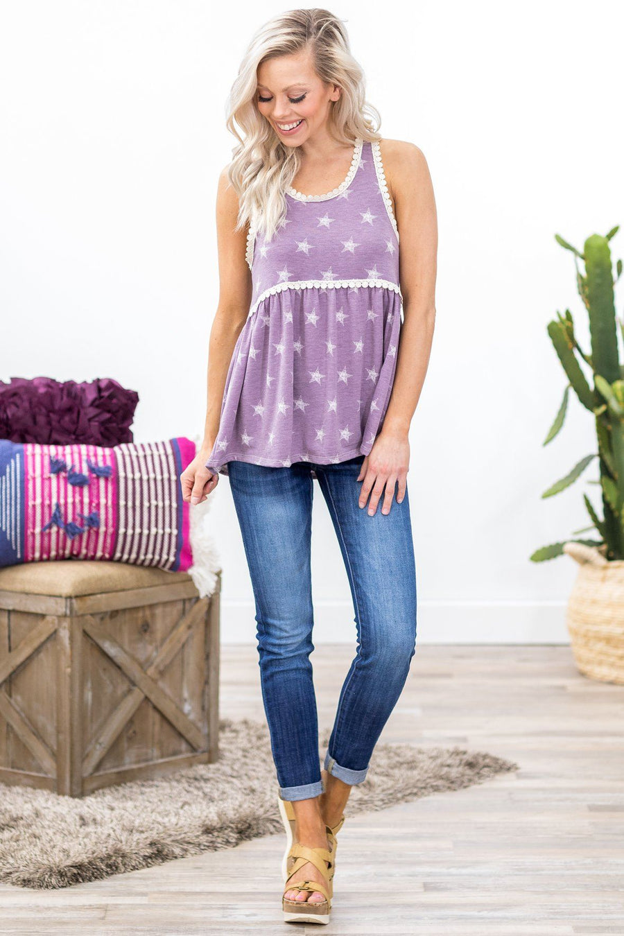 e678b883153b9e Nothing On But The Stars Embroidered Lace Trim Tank Top in Lavender