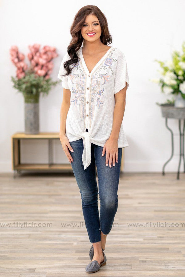 First Time We Met Floral Embroidered Button Waffle Tie Top in White - Filly Flair