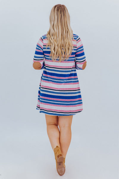 Hometown Hero Striped Dress in Blue - Filly Flair