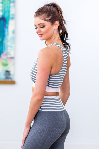 On The Run Striped Racerback Sports Bra in Pink White Grey - Filly Flair