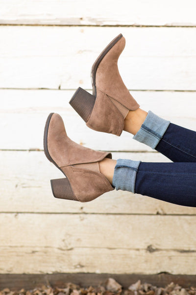 Meet On The Dance Floor Slide On Booties in Taupe - Filly Flair