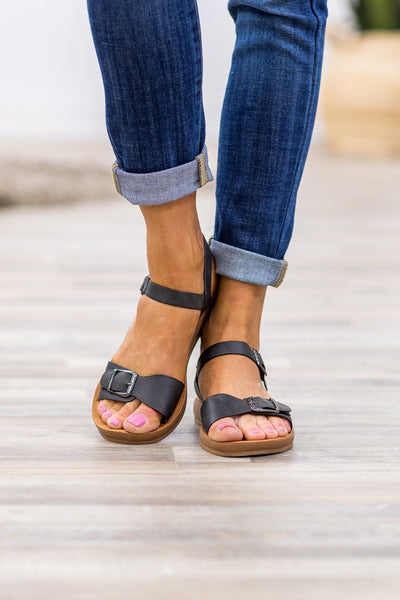 She Will Be Here Buckle Sandals in Black - Filly Flair