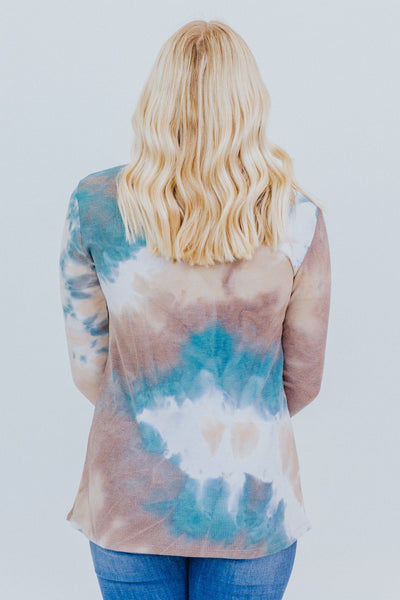 Lean On Me Tie Dye Long Sleeve Top in Teal - Filly Flair