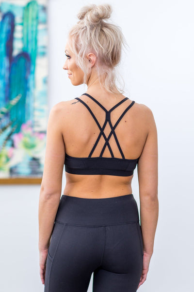 Going Nowhere Fast White Origami Double Criss Cross Back Sports Bra in Black - Filly Flair