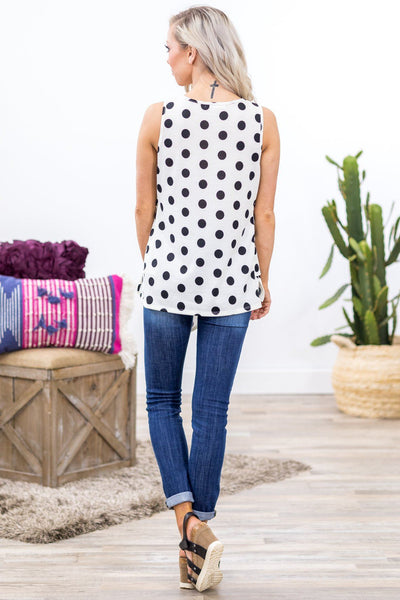 Classy Girl Knotted Detail Black Polka Dot Tank Top in White - Filly Flair