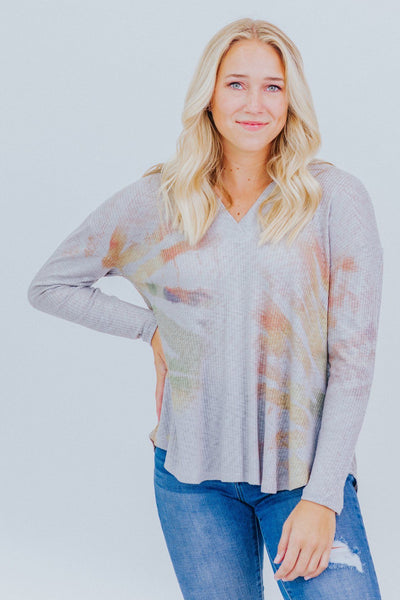 You're Cooler Than Me Tie Dye Long Sleeve Top in Grey - Filly Flair