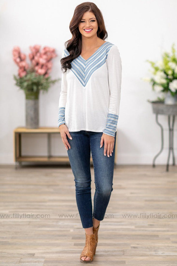 Every Strapping Detail Long Sleeve Top in White - Filly Flair