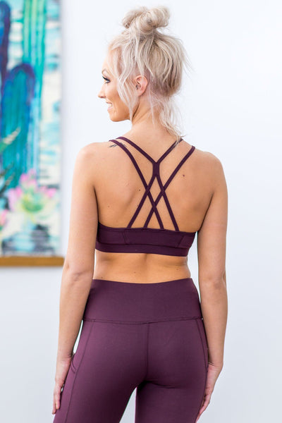 Going Nowhere Fast White Origami Criss Cross Back Sports Bra in Burgundy - Filly Flair