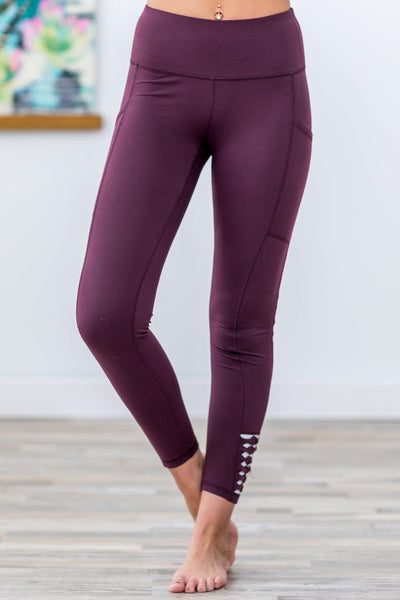 Going Nowhere Fast White Origami High Rise Leggings in Burgundy - Filly Flair