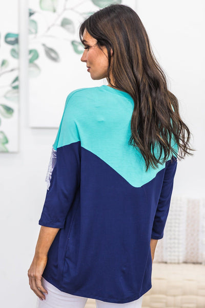 Life Is A Mystery Top in Aqua and Navy - Filly Flair