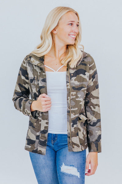 Intense Love Camo Zip Up 2 Pockets Long Sleeve Jacket in Camo Green - Filly Flair