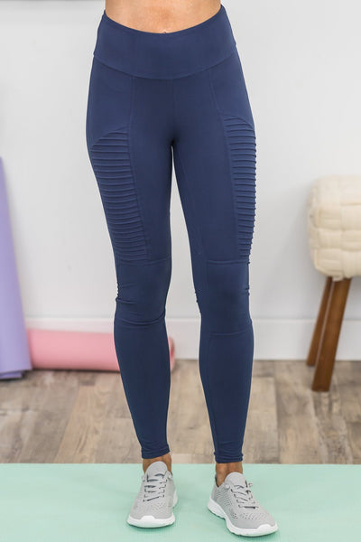 Workout Babe Leggings in Navy - Filly Flair