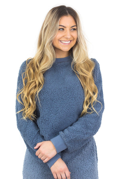 Fill Your Heart With Joy Loungewear Sweatshirt In Blue Stone - Filly Flair