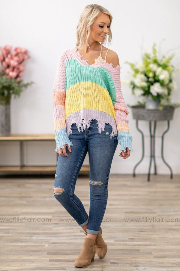 Spring Fever Pastel Color Block Frayed Crop Sweater - Filly Flair