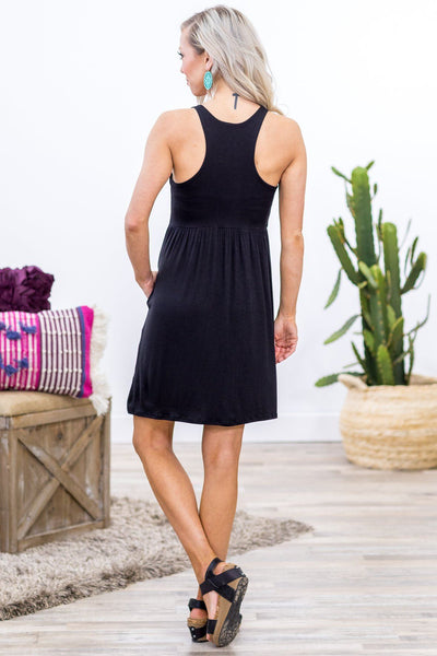 What You're Given Sleeveless Racerback Pocket Dress in Black - Filly Flair