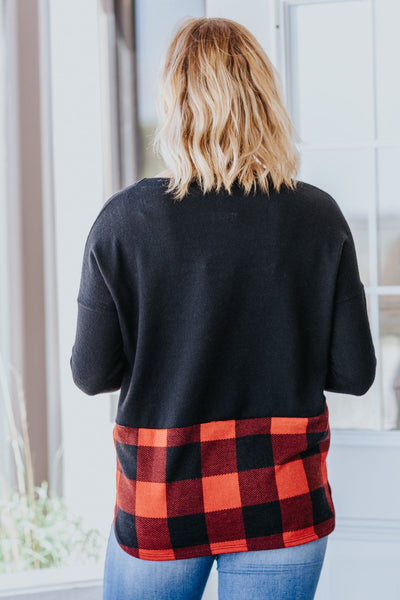 *DEAL* You Never Know Color Block Plaid Button Long Sleeve Top in Black Red - Filly Flair
