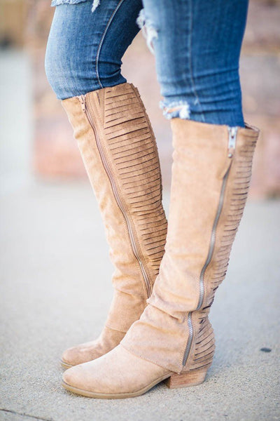 Strips Galore Tall Boots in Taupe - Filly Flair