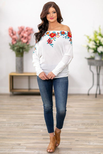 Different For Girls Floral Embroidered Off the Shoulder Top in White - Filly Flair