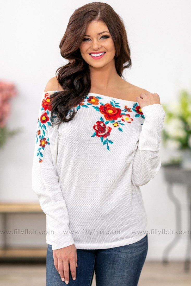 e1a3776d65d47 Different For Girls Floral Embroidered Off the Shoulder Top in White