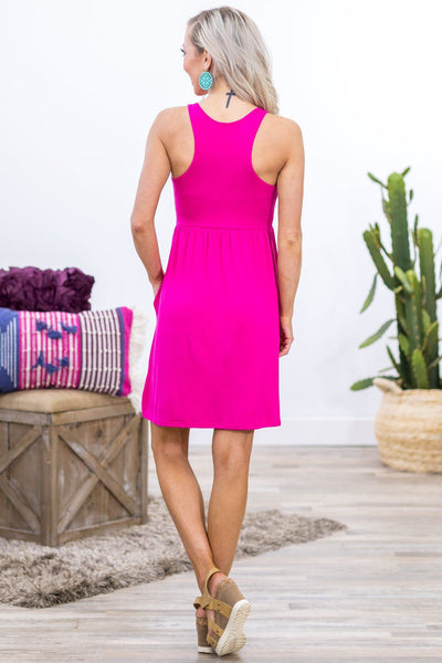 What You're Given Sleeveless Racerback Pocket Dress in Hot Pink - Filly Flair
