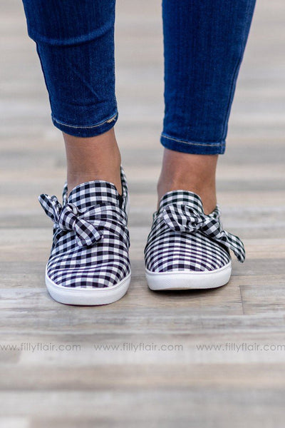 I'm All In Black White Checkered Bow Slip on Shoes - Filly Flair
