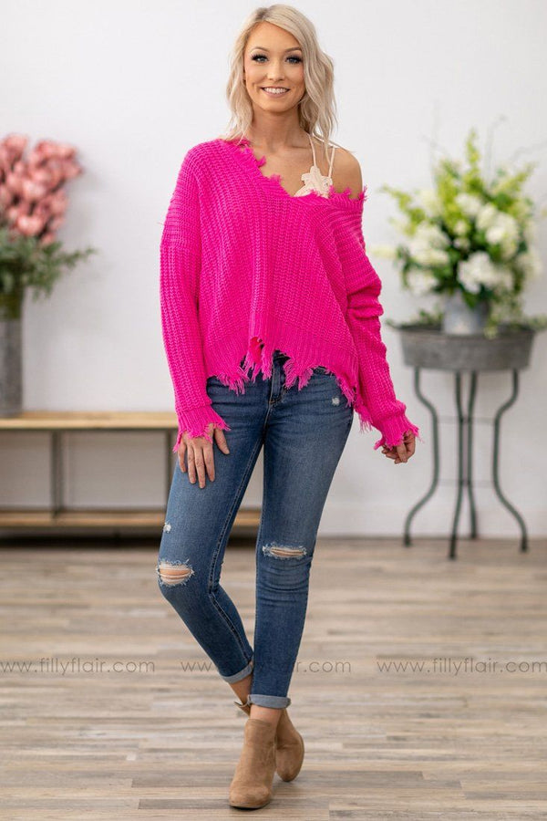 Put Your Hair Down Knit Frayed Crop Sweater in Hot Pink - Filly Flair
