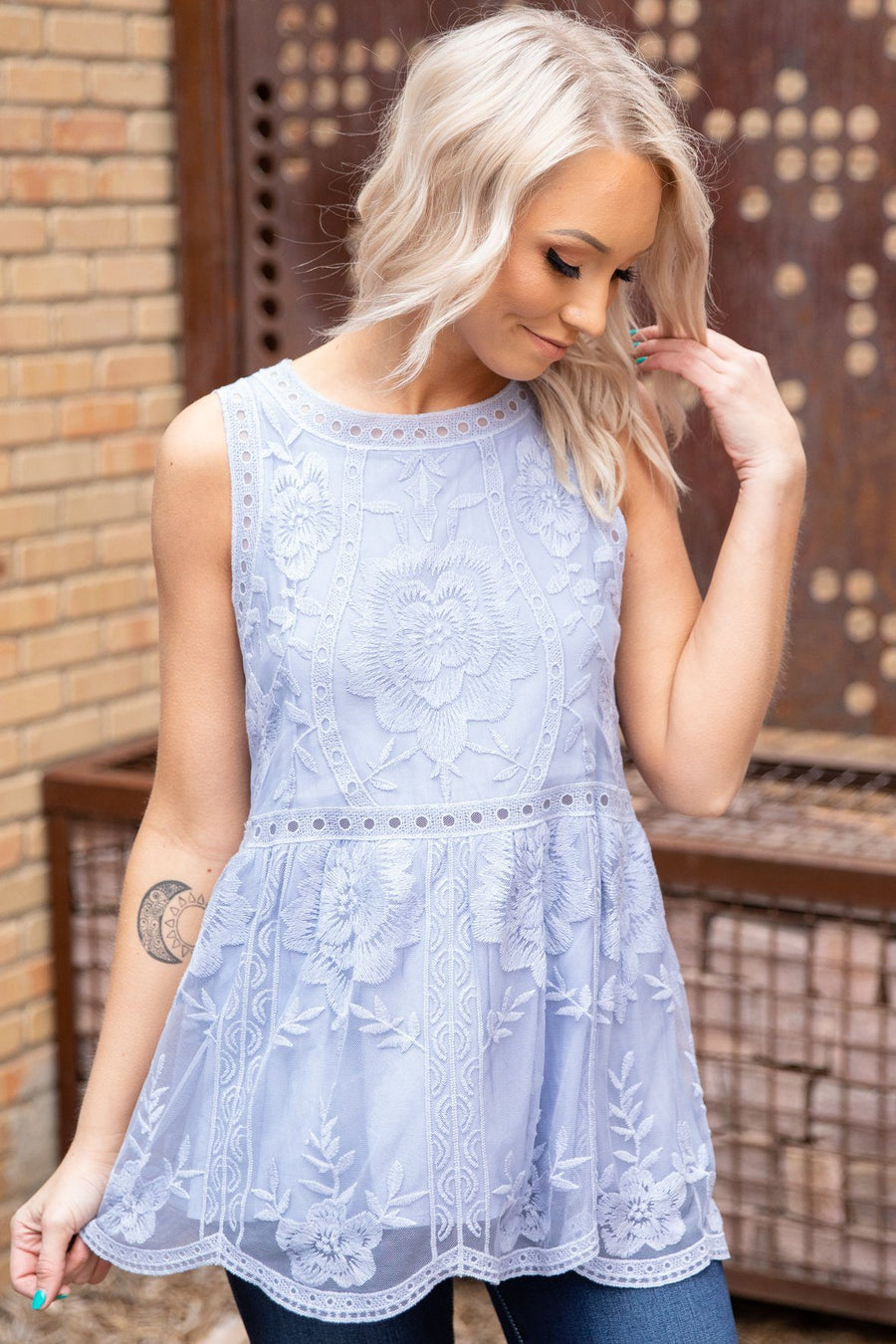 5456a5217a9 Some Truth Sleeveless Lace Top in Periwinkle