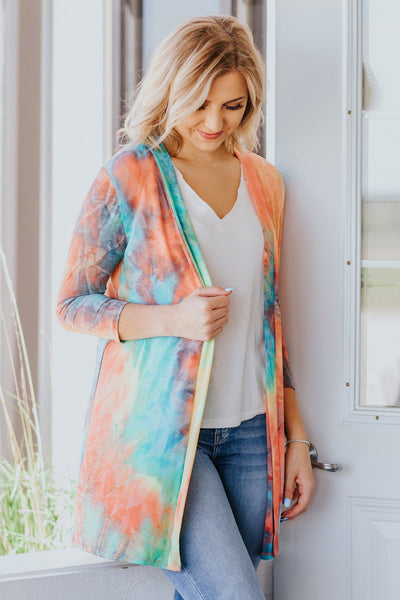 Be You Tie Dye Long Open Front Cardigan in Mint - Filly Flair