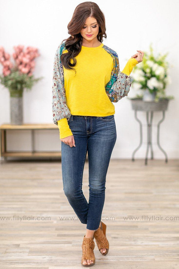 Look At You Long Printed Bishop Sleeve Top in Yellow - Filly Flair
