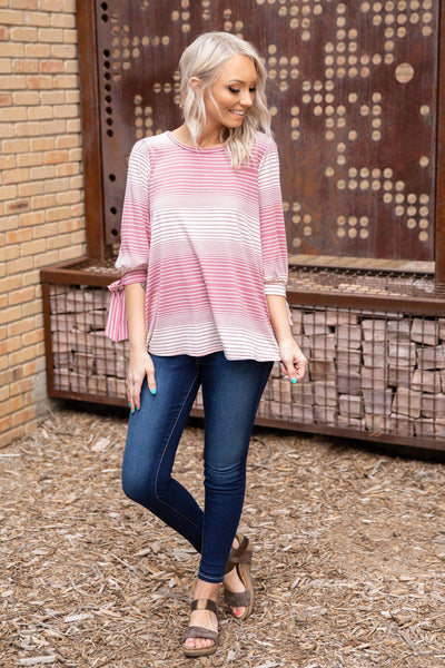 I Can't Let Go 3/4 Tie Sleeve Striped Top in Mauve Ivory - Filly Flair