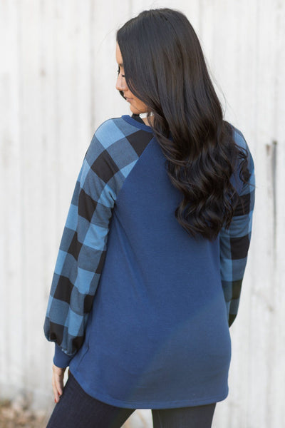 Chasing After You Plaid Detail Long Sleeve Top in Denim - Filly Flair