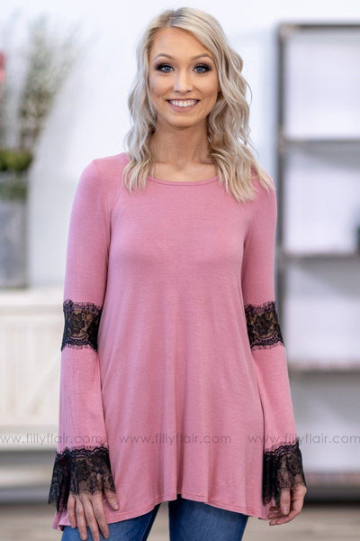 Take A Step Back Long Sleeve Black Lace Detail Tunic in Mauve - Filly Flair
