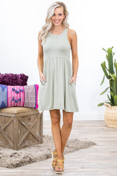 What You're Given Sleeveless Racerback Pocket Dress in Sage - Filly Flair