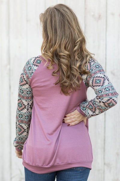 Can't Get You Out Of My Mind Long Sleeve Top In Deep Mauve - Filly Flair