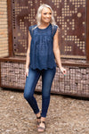 Love Someone Sleeveless Crochet Lace Top in Navy - Filly Flair
