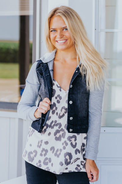 A Good Time Black Denim Hooded Sweater Jacket - Filly Flair